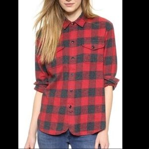 Madewell Red Buffalo Check Flannel Button Down Top